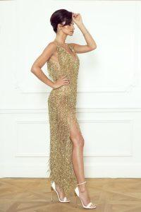 Złota sukienka z frędzlami